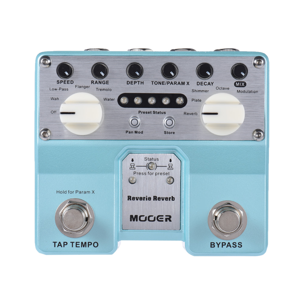Mooer Digital Reverie Reverb Guitar Effect Pedal With 5 Reverberation Modes Plus 5 Enhancing Effects mooer ensemble queen bass chorus effect pedal mini guitar effects true bypass with free connector and footswitch topper