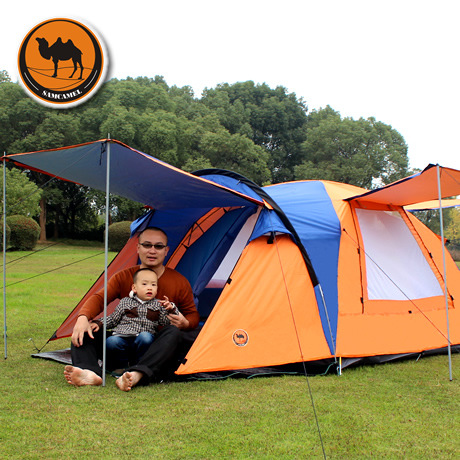 CS080 One Hall One Bedroom double layer high quality 3-4 person camping beach tent with one pair of curtain poles 2015 new style high quality double layer untralarge one hall one bedroom family party camping tent