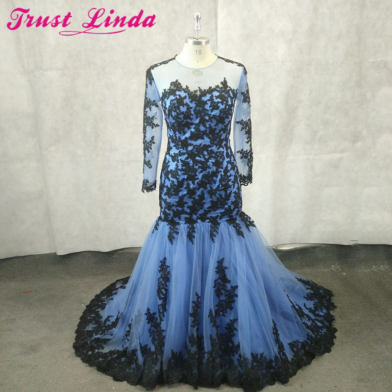 Elegant Jewel Neck Blue Mermaid Mother Dresses Sexy See Through Black Appliques Real Simple Prom Gowns Formal Party Dress 2018