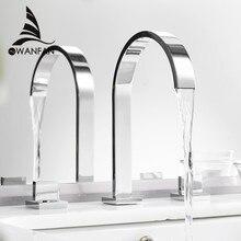 流域水栓真鍮ポリッシュクロームデッキ広場バスルームシンク蛇口3穴ダブルハンドル温水と冷水タップLT 109