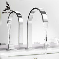 High Quality Polished Chrome Deck Mounted Double Handle Bathroom Taps Square Bathroom Faucets 3 Hole Hot