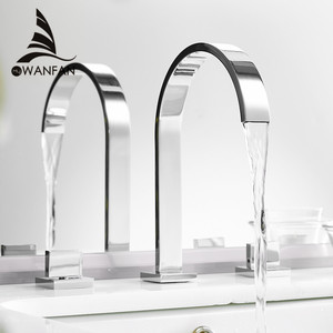 Image 1 - Bacia torneiras de latão polido chrome deck montado quadrado pia do banheiro torneiras 3 buraco dupla alça água quente e fria LT 109