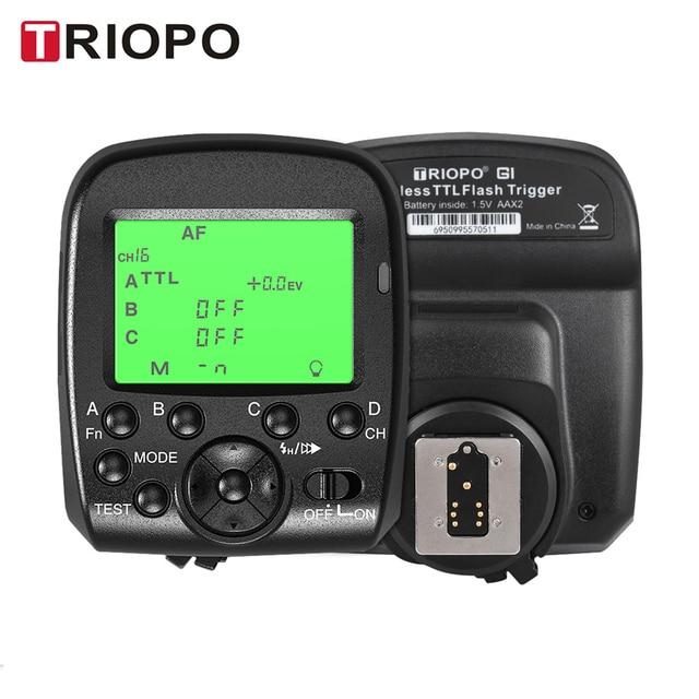 مشغل لاسلكي TRIOPO G1 مزدوج TTL مع شاشة LCD عريضة 1/8000s HSS 2.4G ناقل لاسلكي 16 قناة