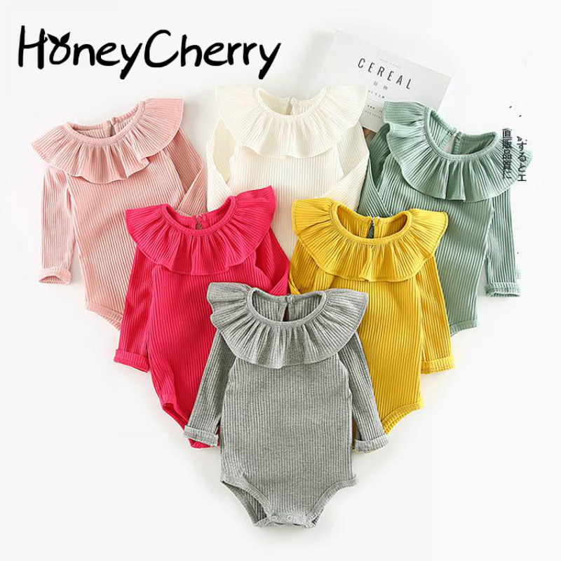 2019 Baby Romper Burst Lotus Leaf Collar Triangular Climbing Suit Baby Girl Clothes Romper Baby Girl Summer Clothes Jumpsuit