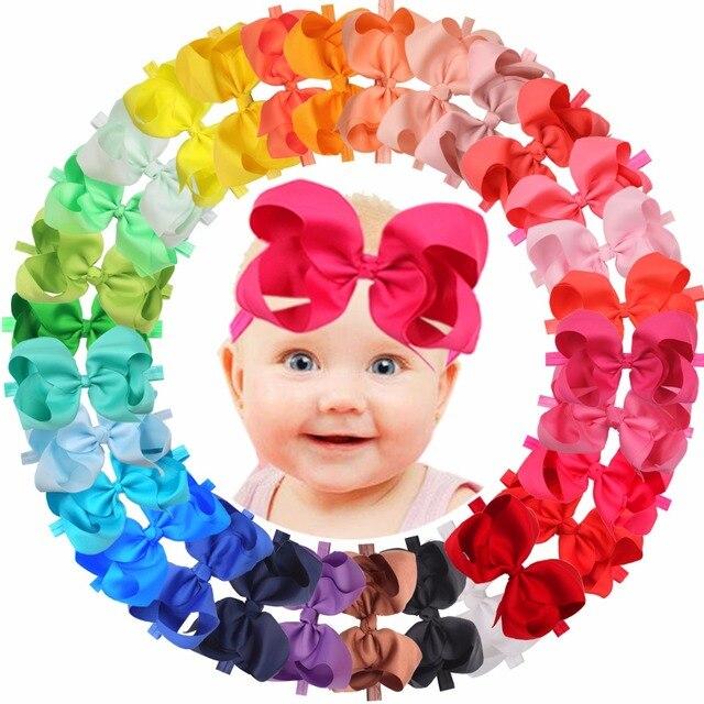 """30 צבעים 6 inch שיער קשתות BabyGirls סרטי ראש גדול 6 """"Bow רך גומייה עבור בfant יילוד פעוטות"""