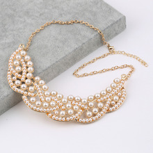 GENBOLI 1Pcs Hot Design Hollowed Golden Fashion Simulated-Pearl Choker Bib Pendant Collar Necklace Elegant Jewelry