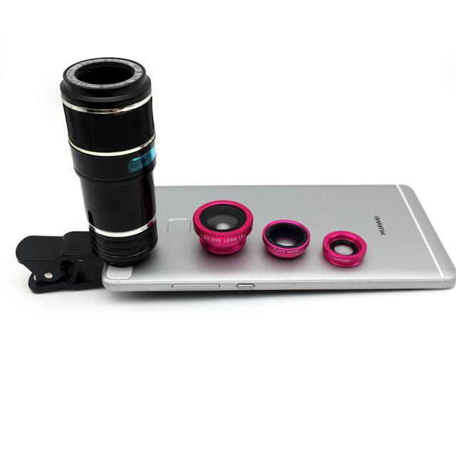 12X Teleobjetivo Fisheye ojo de pescados + Lente Gran Angular y Macro universal clip de lentes ópticas para iphone 7 samsung huawei xiaomi