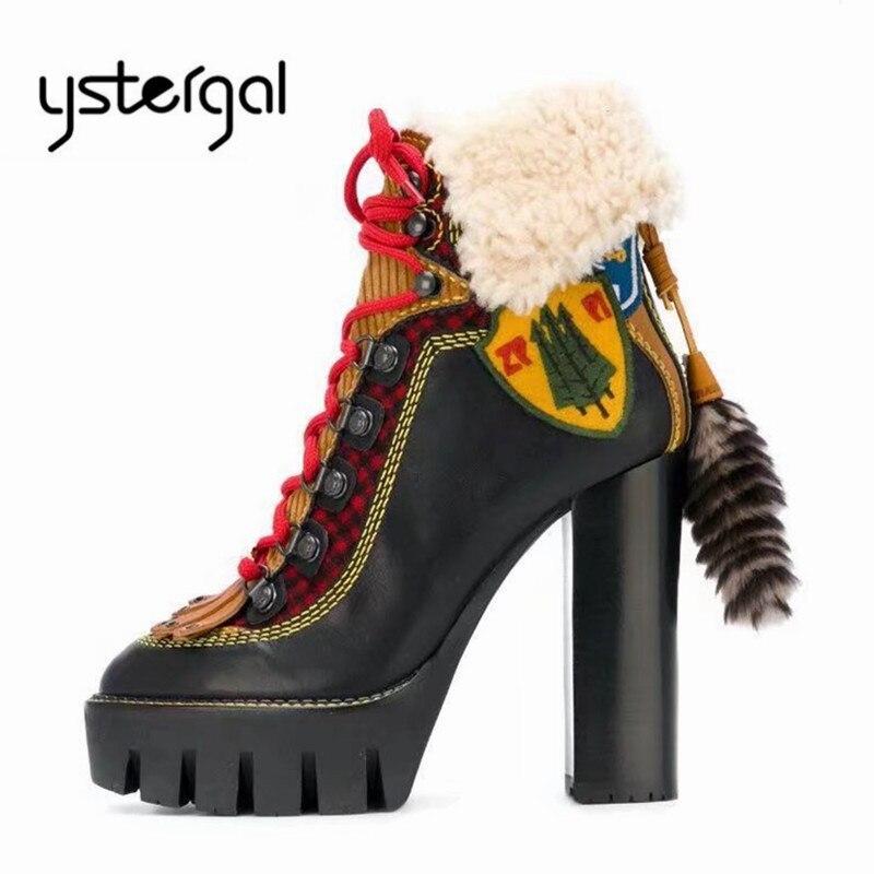 Zapatos 12 Goma Cálido De Mujer Tobillo Bota Plataforma 2019 Nuevas Bombas Y multiple Mujeres Botas Alto Tacón Negro Ystergal Grueso Piel Invierno Las Cm OH4qwY