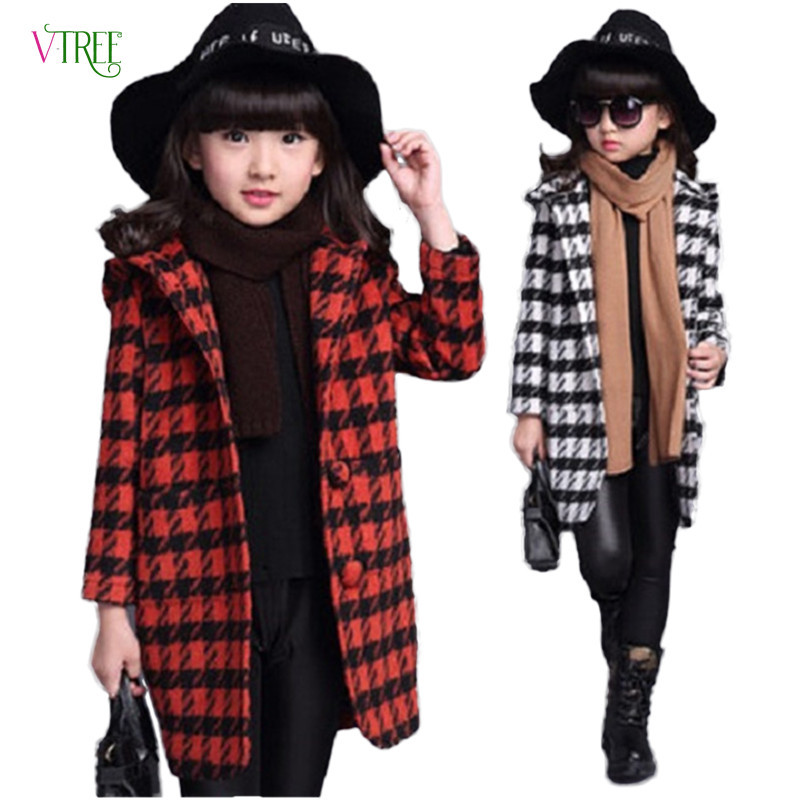 New autumn winter teenage girls outwear plaid woolen jacket coat for girl trench coat kids children outwear tops girls clothes цены
