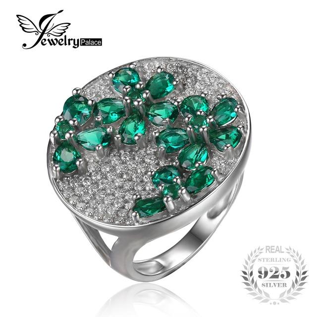 Jewelrypalace enorme lujo 3.3ct nano ruso creado esmeralda anillo de cóctel auténtica plata de ley 925 de joyería fina para las mujeres