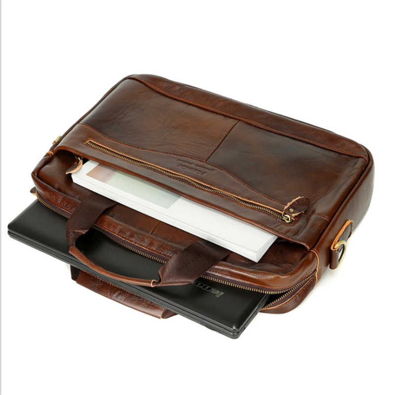 High Quality Oil Wax Cowhide Leather Briefcase Mens Genuine Leather Handbags Crossbody Bags Men's Business Messenger Bags Laptop
