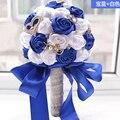 2017 dama de Honor Nupcial de La Boda Bouquet Barato Nuevo Lujo de Cristal Azul y Blanco Hecho A Mano Artificial Rose Flores Ramos de Novia