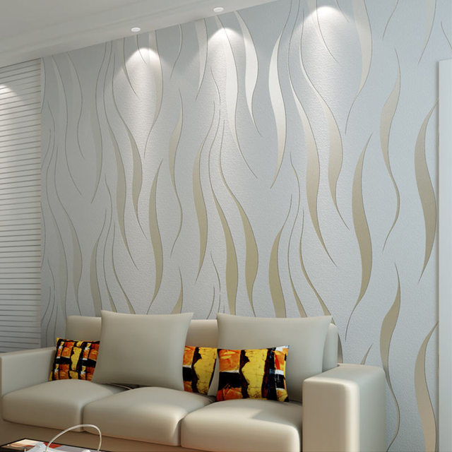 Non Woven Flocking Wallpaper Home Decor Modern Fashion 3D Wave Stripe  Embossed Wall Paper Living