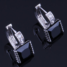 Good-Looking Square Black Cubic Zirconia White CZ 925 Sterling Silver Clip Hoop Huggie Earrings For Women V0956