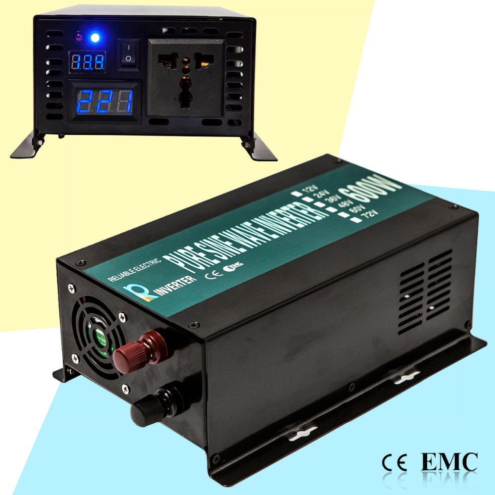 From US Warehouse,1200W Peak 600W 12V/24V 120V/240V DC to AC Converter Off Grid Pure Sine Wave Solar Power Inverter LED Display цена и фото