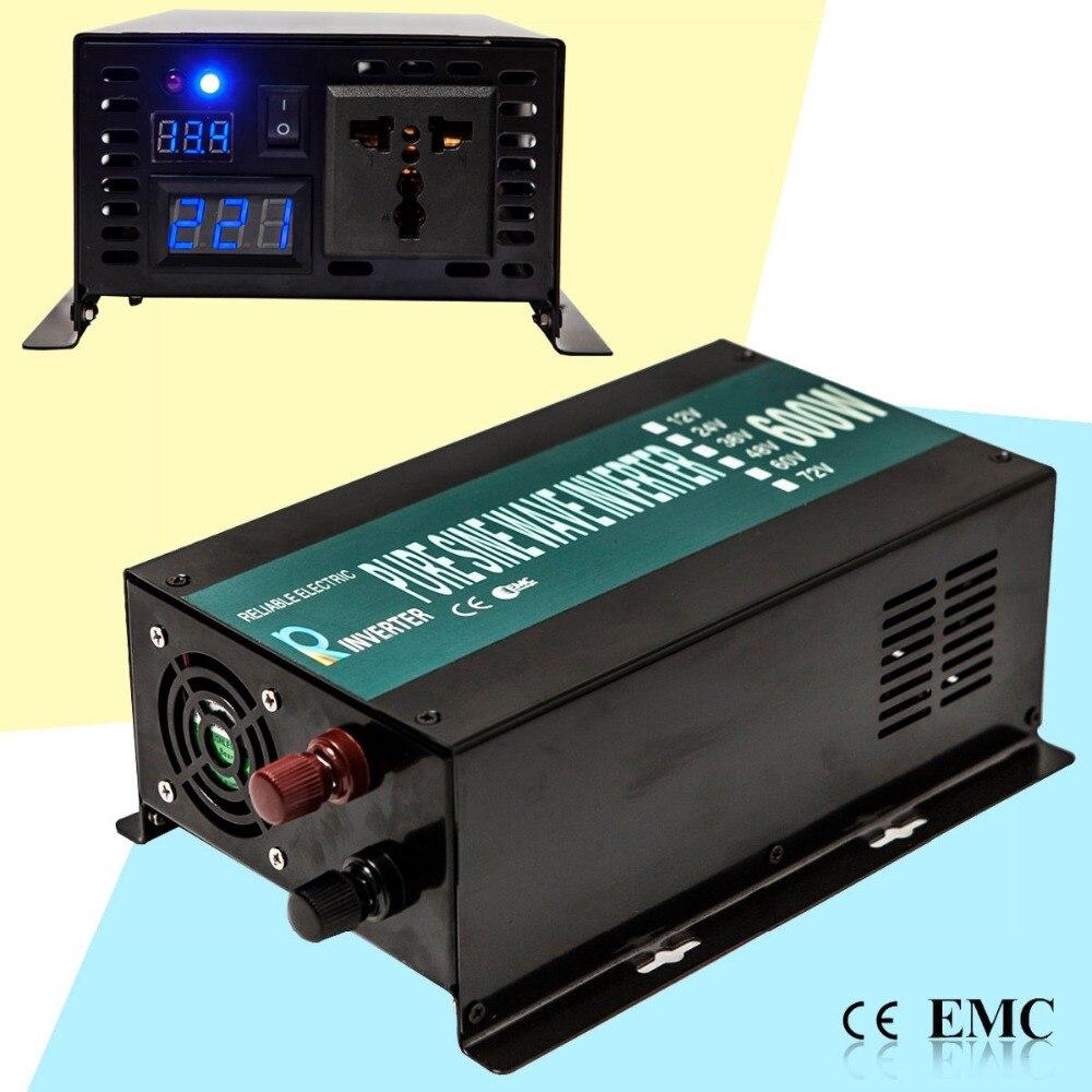 Pure Sine Wave Solar Inverter 12V to 220V 600W Car Power Inverter Generator Converter Battery 12V 24V DC to 110V 120V 220V AC solar power inverter 1000w 12v 220v pure sine wave inverter generator car battery pack converter 12v 24v dc to 110v 120v 240v ac