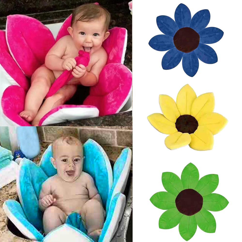 Newborn Baby Bathtub Foldable Blooming Bath Flower Bath Tub for Baby Blooming Sink Bath For Baby Play Bath Sunflower Cushion mat bath