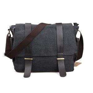 Image 1 - Bolsa transversal estilo coreano masculina, bolsa de ombro, de lona, para estudantes, faculdade, 2020