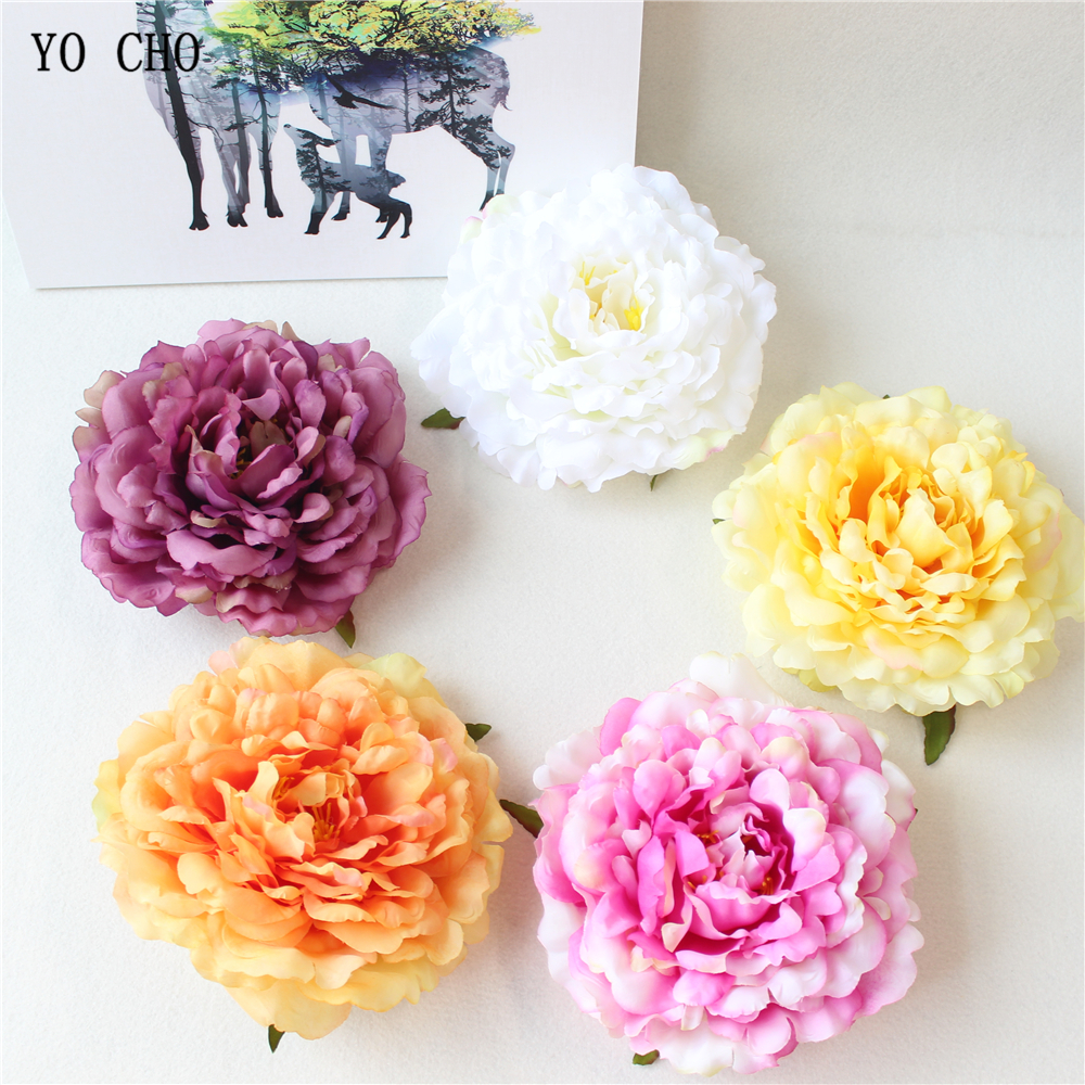 Yo Cho Artificial Peony Flower Head White Pink Blue Silk Flower Rose
