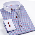 2016 New Fashion Brand Mens Striped Long Sleeve Casual Dress Shirts Quality Social Shirts White Collar Desinger Men Clothing 4XL