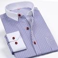 2016 moda de nueva marca para hombre rayada de manga larga ropa informal calidad sociales camisas de cuello blanco Desinger hombres ropa 4XL