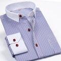 2016 nova marca de moda Mens listrado luva longa vestido ocasional camisas qualidade camisas sociais colarinho branco Desinger homens roupas 4XL