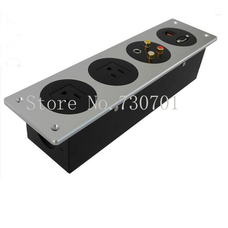 ФОТО Aluminum Panel Socket with Universal power and USB Charger hotel wall socket box