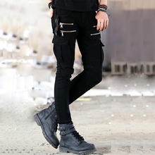 Hi-Street Mens Denim Biker Cargo Jeans Famous Brand Design Multi Zipper Pockets Men Stretch Skinny Moto Pencil Jeans MB492B Z25