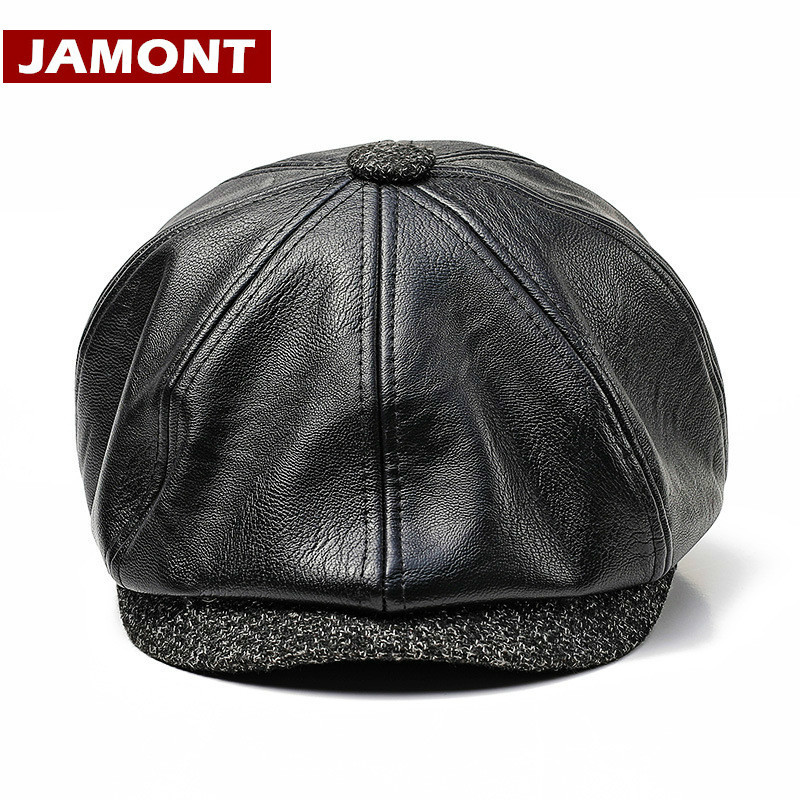 [JAMONT] New Autumn Winter PU Leather Hat Newsboy Cap Men Beret Fashion Octagonal Hats Outdoor Men's Caps Gorras Casquette Male