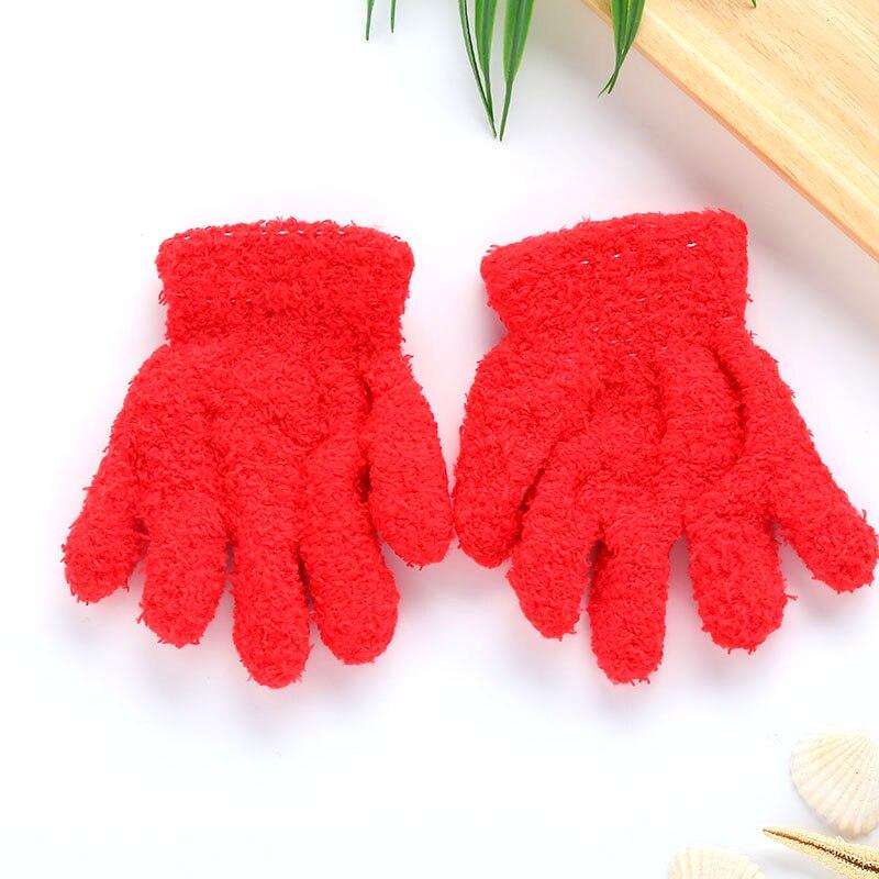 Плюшевые перчатки детские подарки детский сад Зимние удобные мягкие разноцветные - Цвет: red