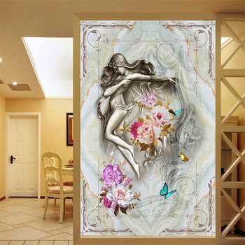 Customized classical style mural girl with flower art beauty marble texture wallpaper home corridor porch background decor