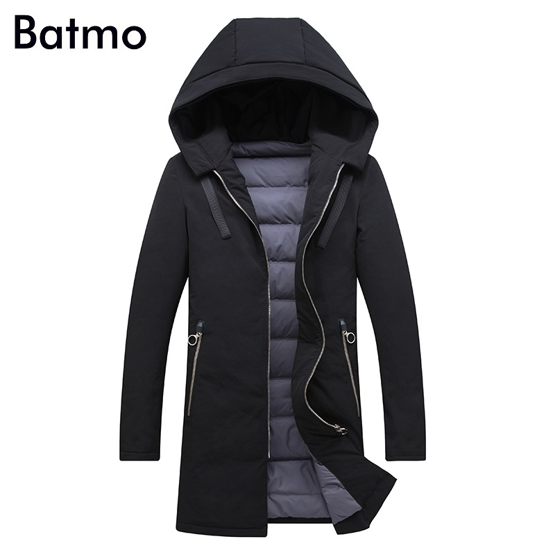 Batmo 2017 new arrival winter high quality white duck down long jacket men,winter mens coat ,plus-size M,L,XL,XXL,XXXL 8037