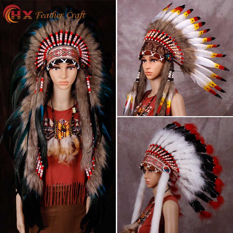 Indian Feather Headdress American War Bonnet Handmade Costume Halloween Decor HI