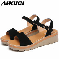 Women Platform Sandals Suede Leather Flat Sandals Low Wedges Summer Female Sandalias Ladies Sandals