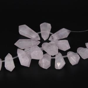 """Image 5 - 15.5""""strand Large Natural White Crystal Quartz Top Drilled Double Point Beads,Raw Crystal Faceted Stick Graduated Pendant Beads"""