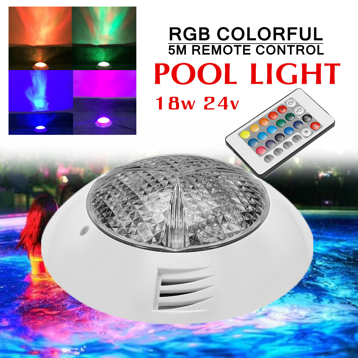 Colorful Swimming Pool Spa Light 18W 24V LED RGB Underwater Lamp Remote Control Mounted Design Brightness 50000 Working Hours
