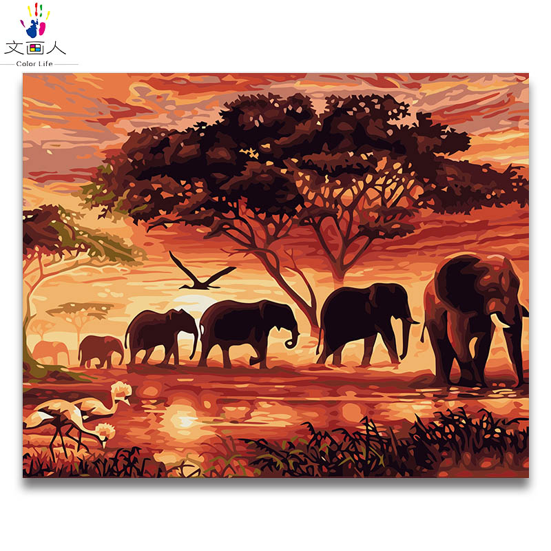 Diy Coloring Paint By Numbers Animal Sunset African Elephant Herd Pictures Paintings By Numbers With Kits Package On Canvas