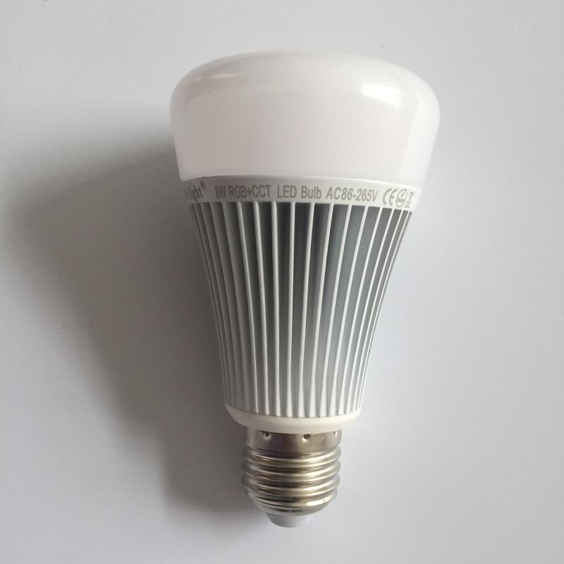ФОТО 2pcs MiLight 2.4G  Smart Bulb Wireless E27 8W RGB+Color temperature changing 85-265V Dimmable RGBWW LED Lighting Lamp