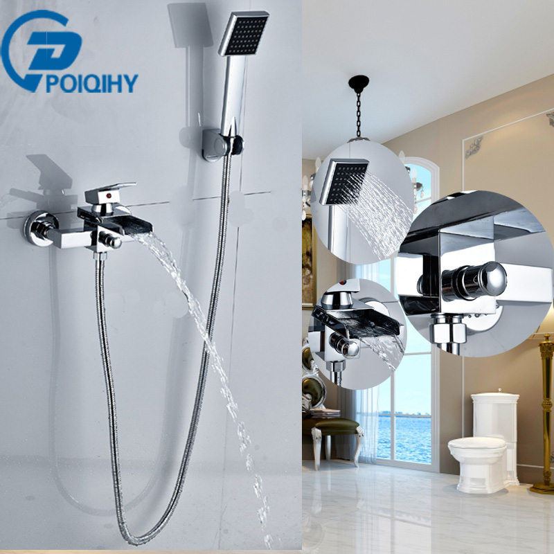 POIQIHY Chrome Finish Tub Faucet Wall Mouted W/ Hand Shower Bathroom Tub Faucets Wall Mounted Mixer Tap modern thermostatic shower mixer faucet wall mounted temperature control handheld tub shower faucet chrome finish