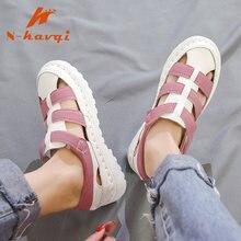 55c73483cf6081 Femmes D'été sandales plates en cuir Dames Plage chaussures décontractées chaussures  femme tongs Plate-Forme Gladiateur sandales.