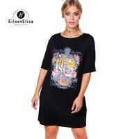 Эйлин elisa с принтом тигра платье-рубашка Для женщин осень 2017 г. черные ботфорты Размеры D Платья для женщин для женщин; Большие размеры 4XL 5XL