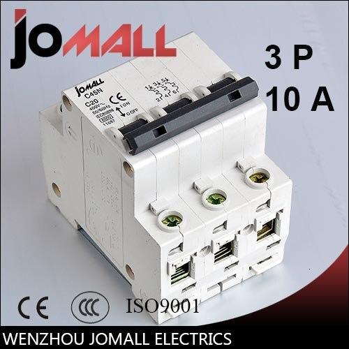 C45N 3 pole 10A C type mini circuit breaker mcb