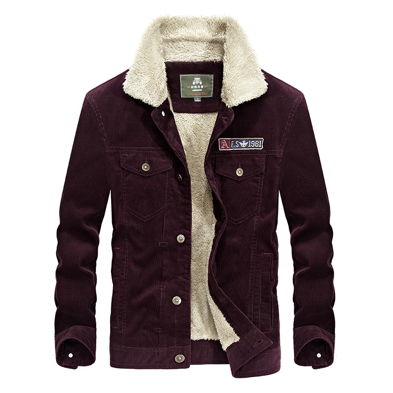 2018 New Autumn Winter Mens Corduroy Jeans Jacket with Fur collar Fashion Retro Thicken Warm Denim Jacket Fleece loose coat 3XL