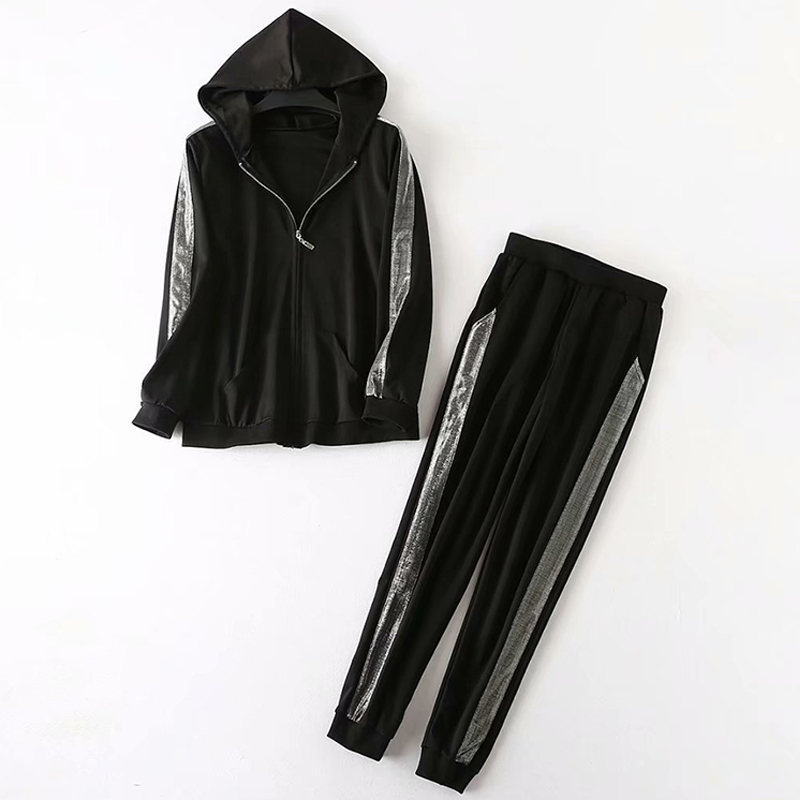 Autumn black stripes tracksuit for women casual big size 2 piece set sporting clothes