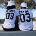 2016 de Estilo Europeo Calle BONNIE CLYDE 03 Impresión de la Letra T-shirt Camisa de verano Hombres Y Mujeres Graphic Tees Mujeres de Los Hombres Ocasionales Tops