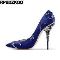 Designer Pumps Blue High Heels Plus Size Extreme Metal Leaf Ultra Pointed Toe Women Brand Thin White Satin Wedding Shoes 9 2017