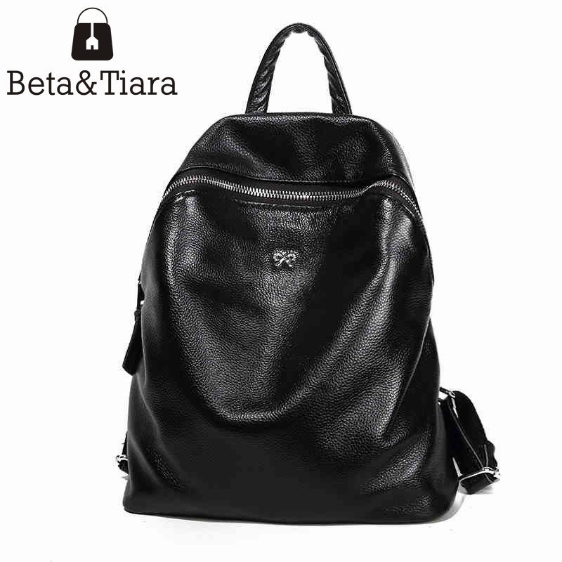 New casual backpack women's genuine leather backpacks cow leather travel bagpack bags for women 2017 fashion women backpack