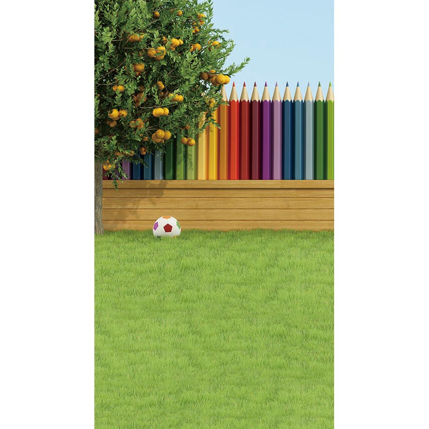 Vinyl Photography Background Colored Pencil Orange Tree Lawn Football Custom background Children Backdrops for Photo Studio SZ-8