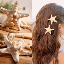 New 1 PC Women Sea Star Handmade irregular Natural Starfish Hair Clip Korea Style Beach Hairpins Vary in size A little fishy