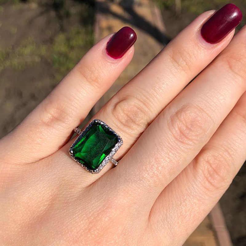 แนวโน้มสีเขียวหินแหวนเจ้าหญิงตัดแหวนหมั้นสำหรับผู้หญิงเครื่องประดับ Cubic Zirconia แหวนอุปกรณ์เสริม Aner ขายส่ง Z5C146
